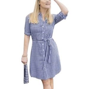 Draper James Gingham Shirtdress Mini Long Sleeve
